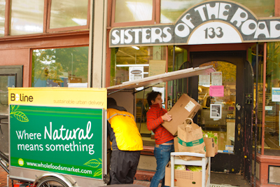 Roberto makes a B-share dropoff at Sisters of the Road